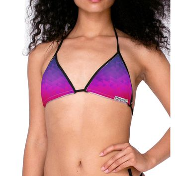 Geometric Gradient AOP Swimsuit Bikini Top All Over Print by TooLoud