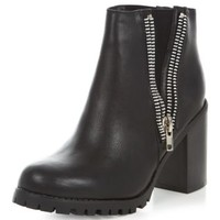 Black Double Zip Chunky Heel Boots