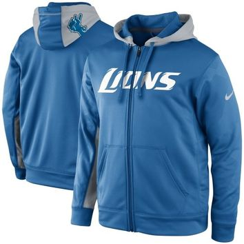 Nike Detroit Lions KO Full Zip Performance Jacket - Light Blue