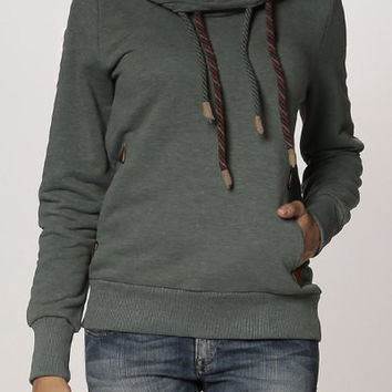 Deep Gray Long Sleeve Drawstring Hooded Sweater