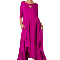 Women 3/4 Long Sleeve Round Neck High Low Flared Long Maxi Dress w/ Pockets
