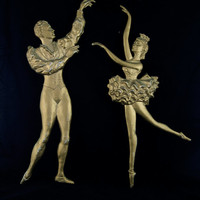 Chippy Gold Metal Ballet Dancers - Vintage Wall Hanging, Retro Wall Decor Plaques