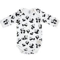 Organic panda long sleeve bodysuit