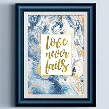 Love Never Fails Fluid Painting Typography Print