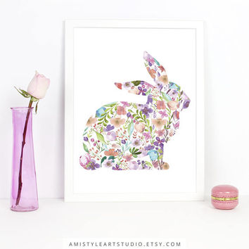 Nursery Art, Flowery Bunny, Nursery Decor, Kids Wall Art, Baby Girl Nursery, Playroom Decor,Printable Wall Art,Childrens Art Prints,Wall Art