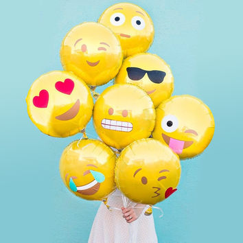 1pcs 18 Inch Emoji Balloons Smiley Face Expression Yellow Latex Balloons Party Wedding Ballon Cartoon Pokemon Inflatable Balls