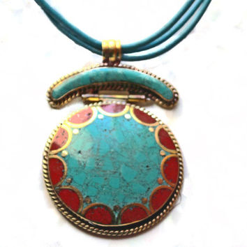 Turquoise Coral Pendant, Tibetan Pendant Necklace, Leather Necklace, Brass Bead Stations, Statement Necklace,Long Necklace,Gift for her