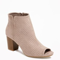 Sueded Peep-Toe Ankle Boots for Women | Old Navy
