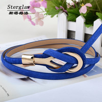 Metal Buckle Thin gold Leather Belt for women 2016 High Quality ceinture femme female belt casual brand cintos sterglaw B001
