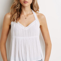 Crochet-Trimmed Halter Top
