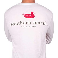 Authentic Long Sleeve Tee in White by Southern Marsh
