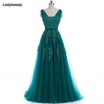 Ladybeauty 2018 Elegant Long Bridesmaid Dresses Appliques Lace beading lace-up style Wedding Party Dress Under 49.5$
