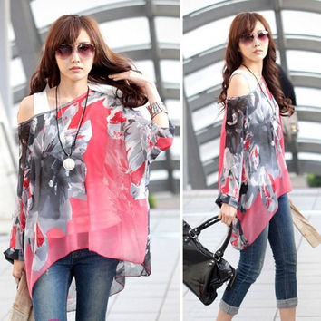 Women Girl Boho Print Elephant Loose Crew Neck Batwing Sleeve Chiffon T Shirt 8H