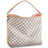 Louis Vuitton LV Bag Damier Azur Canvas Delightful MM Handbag Rose Ballerina Article: N41607 Made in France