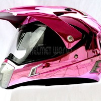 NEW MASEI 311 Cross / Dirt Bike / Road Motorcycle Motorbike Helmet - Pink Chrome