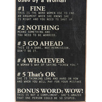 Terms Used By A Woman Box Sign