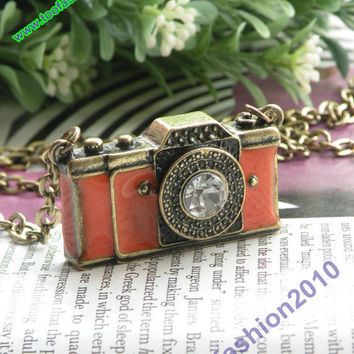 Pretty retro copper white crystal 3d camera with by toofashion2010