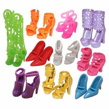 Free Shipping 10 Pair Fashion Colorful Doll Accessories Shoes Heels Sandals For Barbie Dolls Best Gift For Girl Baby Toys