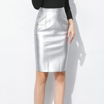 TingYiLi Autumn Faux Leather Skirts Womens High Waist Pencil Skirt Black Golden Silver Midi Skirt