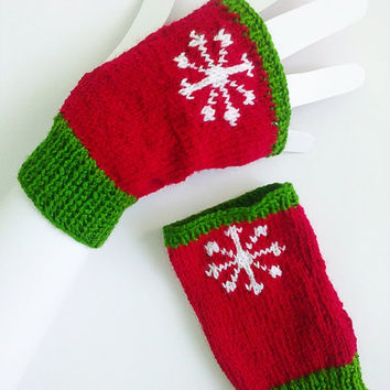 CHRISTMAS SALE Hand knit Christmas gloves Unique Christmas gifts Christmas gift ideas Knit wrist warmers Knit gloves Snowflake pattern Wint