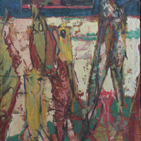 Kim Tai 1962 Signed Expressionist Painting Modernist Korean