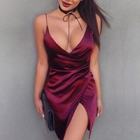Fashion Sexy Women Sling Dresses Women Summer Bodycon Bandage Dress Wine Red Club Wear Short Dresses New Arrival 847492