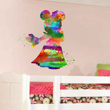kcik2121 Full Color Wall decal Watercolor Character Disney Minnie Mouse children's room Sticker Disney