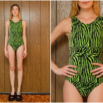 Vintage 90s Club Kid Raver Grunge Velvet Neon Green Black Geometric Zebra Tiger Stripe Graphic Leotard Bodysuit Unitard Adult XS S