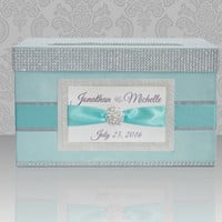 Card box / Wedding Box / Wedding money box - tiffany, silver