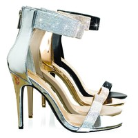 Royals46 Silver by Anne Michelle, High Heel Dance Sandal w Rhinestone Crystal & Thick Ankle Strap