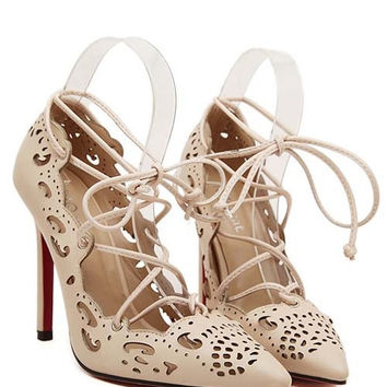 Western Fashion Red Bottom Hollow Out Lace-Up Women Pumps YS-5688