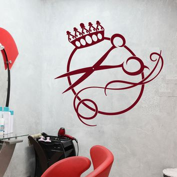 Vinyl Wall Decal Crown Scissors Logo Haircut Hair Salon Barbershop Stickers (2459ig)