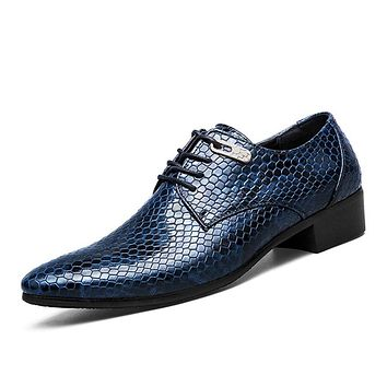 Snake Leather Men Oxford Shoes