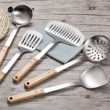 WORTHBUY 5 Pcs/Set Stainless Steel Kitchen Cooking Tools Set Non-slip Heat Resistant Wooden Handle Utensil Set kitchen Set