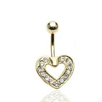 Sparkle Paved Heart Gold-Tone Belly Ring