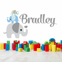 Elephant Stack Boys Name Wall Decal -