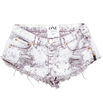 MINNIE TRASHWHORES SHORTS - Tie Dye wash, distressed denim cutoffs