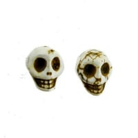 White Sugar Skull Earrings Day of the Dead Cosplay