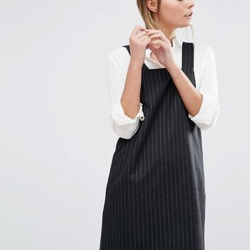 New Look Pinstripe Pinny Dress