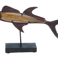 Attractive Styled Brown Polished Metal Wood Fish Décor, Benzara-93919