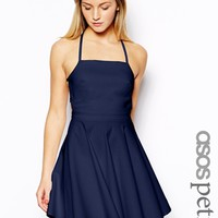 ASOS PETITE Exclusive Strappy Skater Dress with Gold Trim