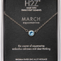Liza Birthstone March Aquamarine - Necklace Crystal Pendant