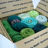 Mystery Box of Green Yarn, Vintage Yarn, Knitting Notions, Crochet Supplies