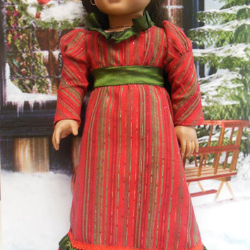 La Nochebuena Brillante,   Regency gown (18 inch doll) Early 1800's dress for AMERICAN GIRL Josefina Caroline