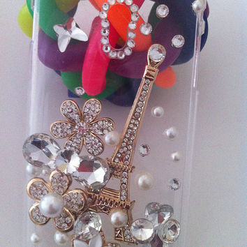 Bling Rhinestones Pearls Crystals Diamonds Gilding Effiel Tower Flowers Phone Case For Sprint Samsung Galaxy S 2 II Epic Touch 4G D710
