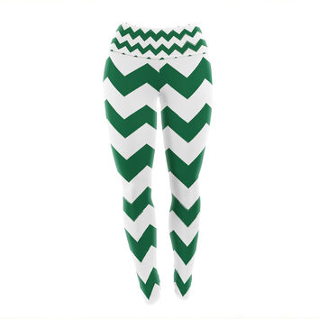 "KESS Original ""Candy Cane Green"" Chevron Yoga Leggings"