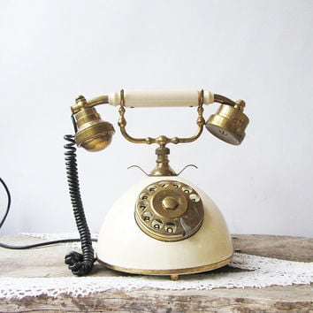 Vintage Rotary Telphone,Brass and marble phone,Retro phone,French style phone,Office supply,Retro home decor,Collectible phone,Industrial