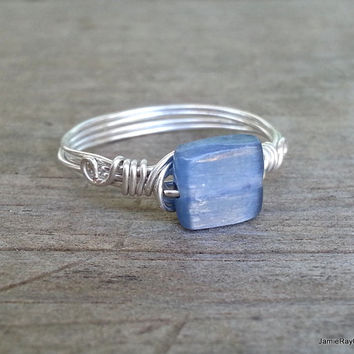 Blue Kyanite Ring, Silver Wire Wrapped Ring, Boho Hippie Ring, Square Blue Gemstone Ring, Wedding Bridesmaid Ring Gift Reiki Stone Wrap Ring