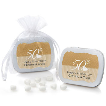 50th Anniversary - Personalized Wedding Anniversary Mint Tin Favors