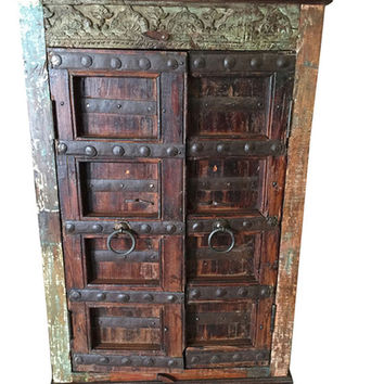 Armoire Cabinet Reclaimed Antique Vintage Patina Storage Indian Furniture